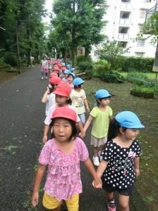 緑道を歩く時も一年生が外側を歩きます。
